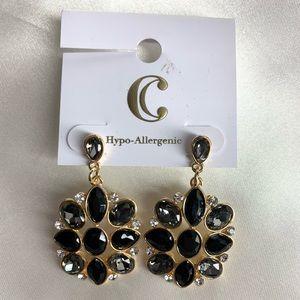 NEW‼️Charming Charlie gold,diamond+black earrings